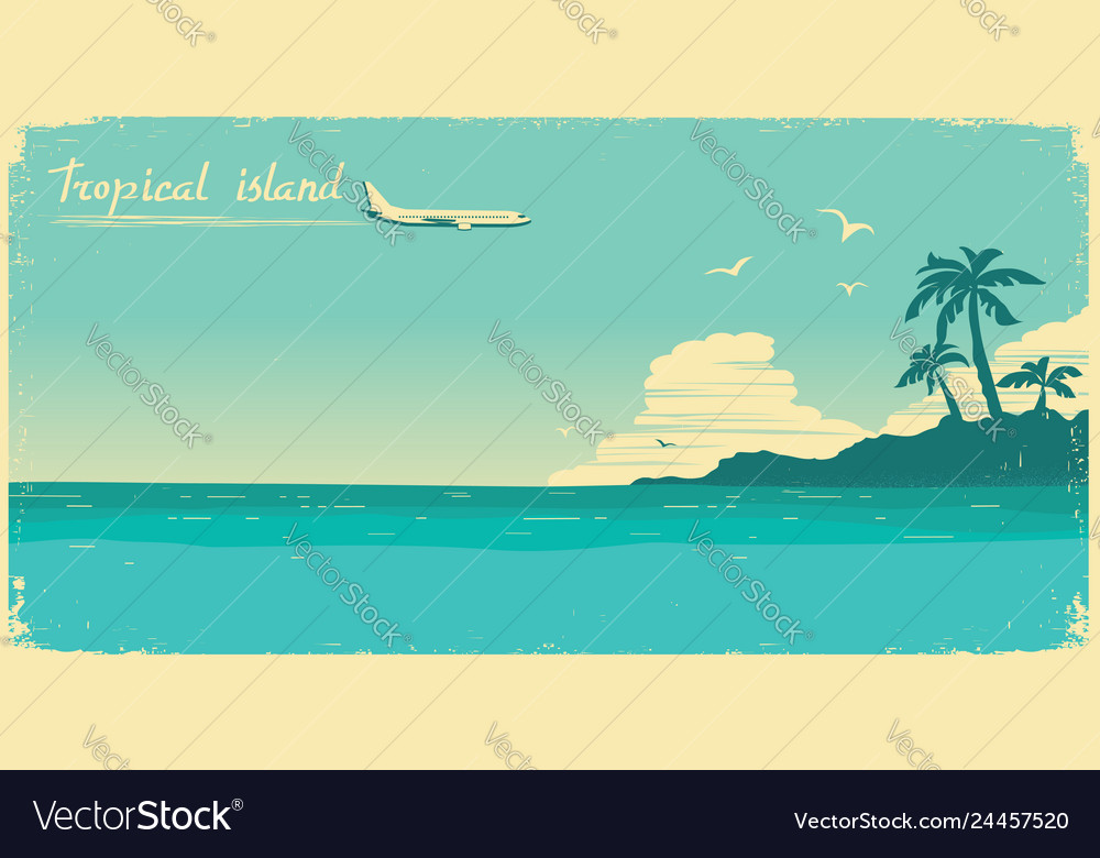 Tropical paradise with palms and sea ocean and