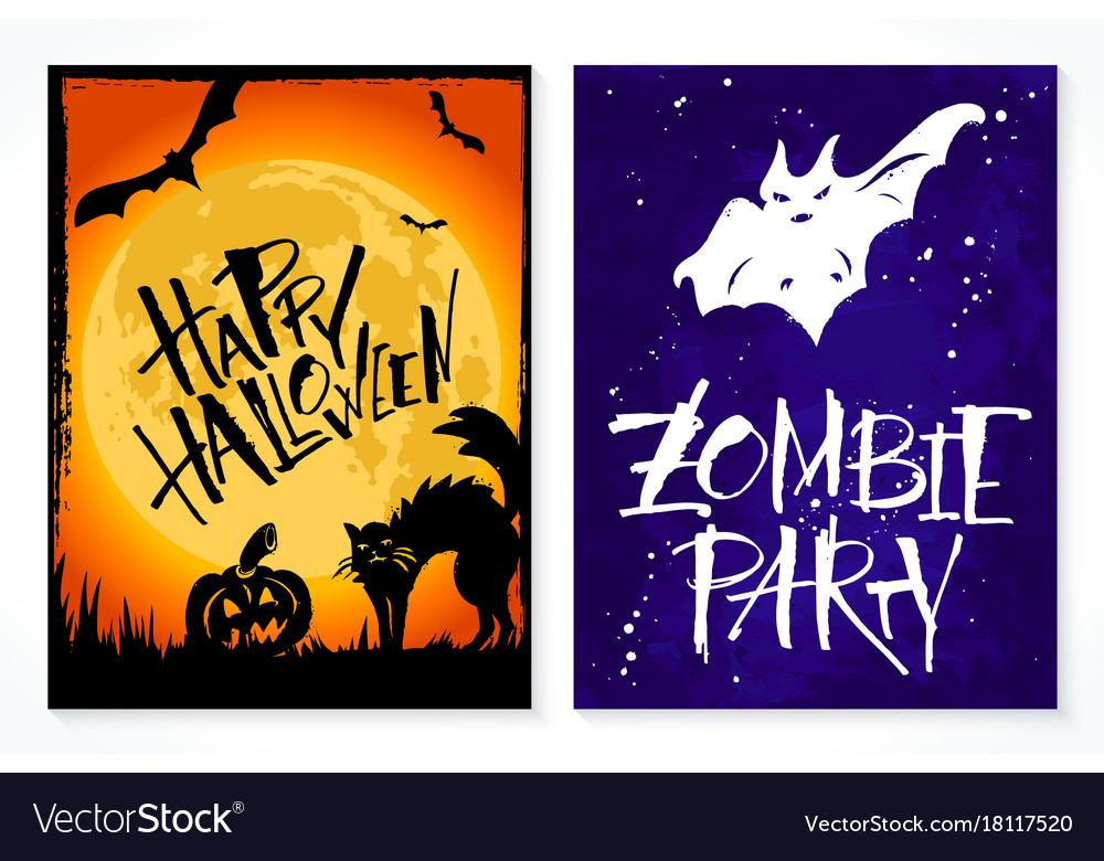 Two hand drawn halloween greeting card