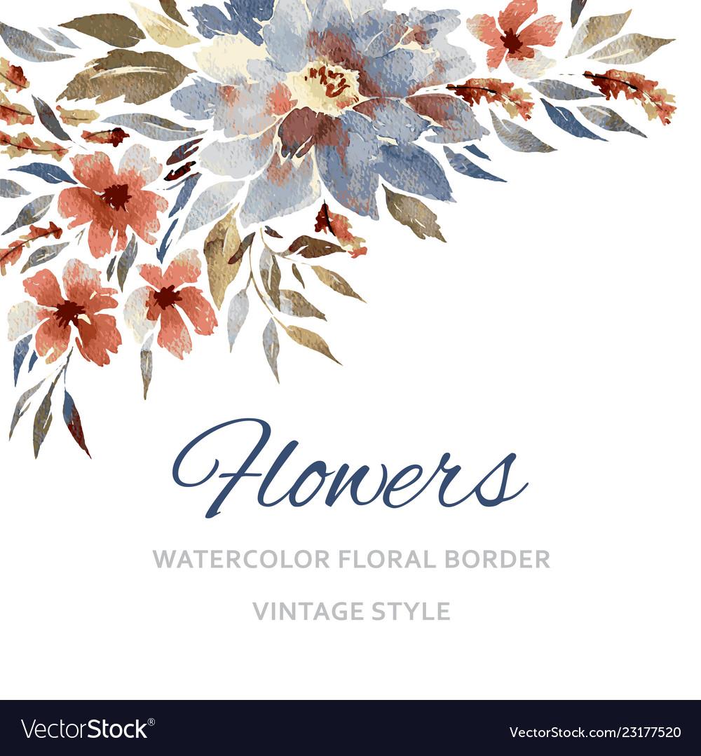 Watercolor Flowers Royalty Free Vector Image Vectorstock