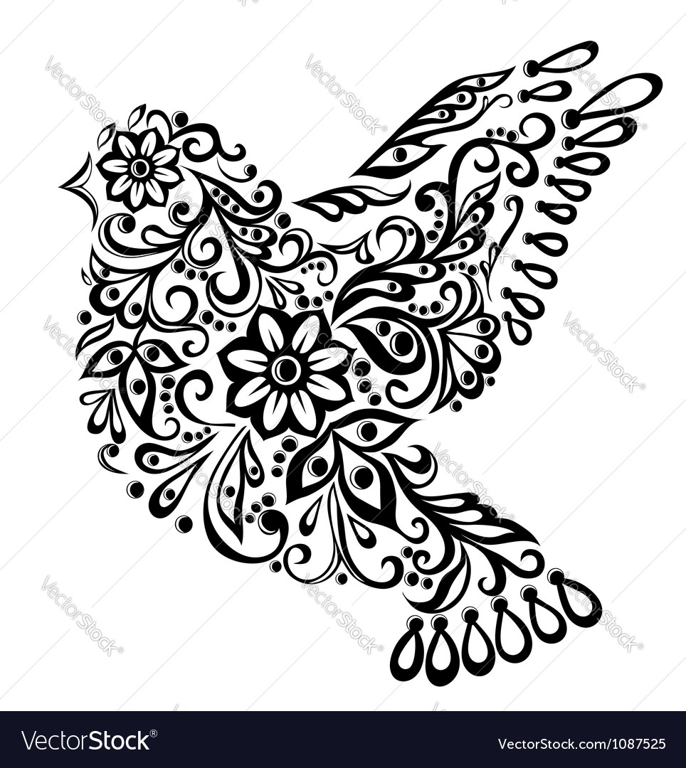 Abstract bird isolated on white hand drawing