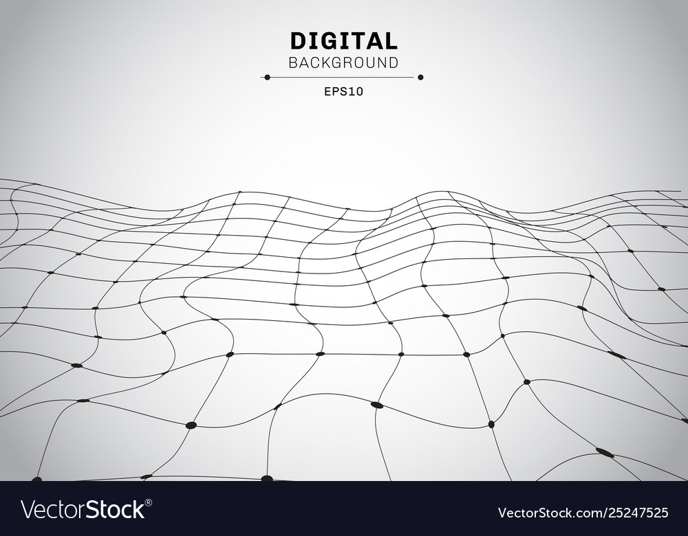 Abstract digital technology black wireframe