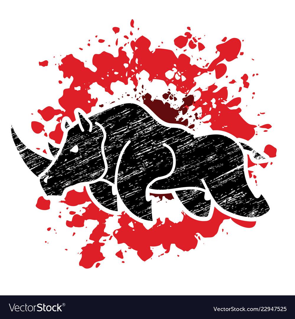 Angry rhino attack graphic