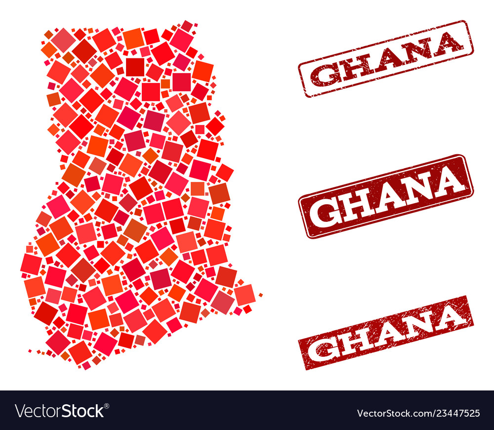 Collage of red mosaic map of ghana and grunge Vector Image