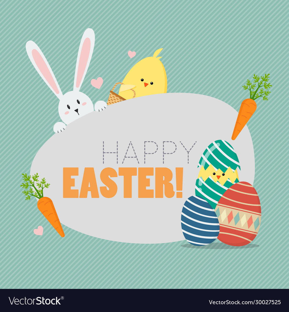 Happy easter with easter elements