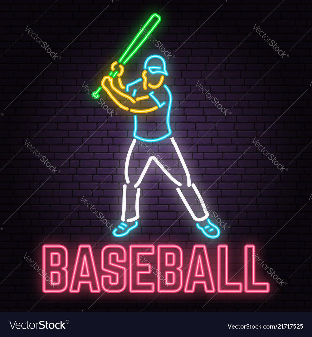 Neon baseball sign on brick wall background