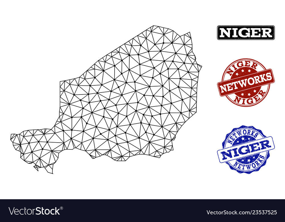 Polygonal network mesh map of niger and
