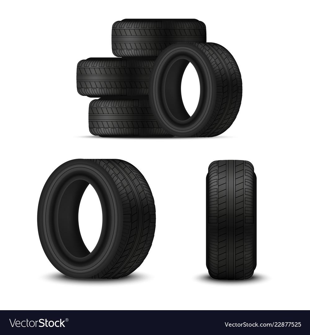 Realistic 3d detailed car tires set