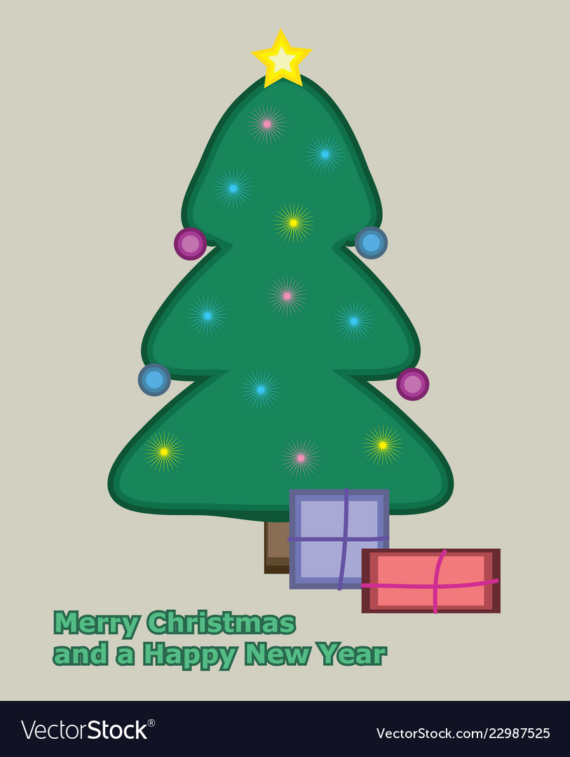 Simple drawn christmas card in flat retro style