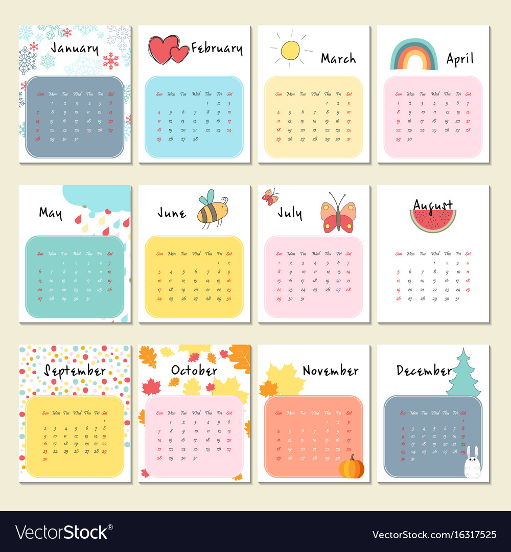 Cute Calendar February 2018 : Unusual cute calendar for royalty free vector image