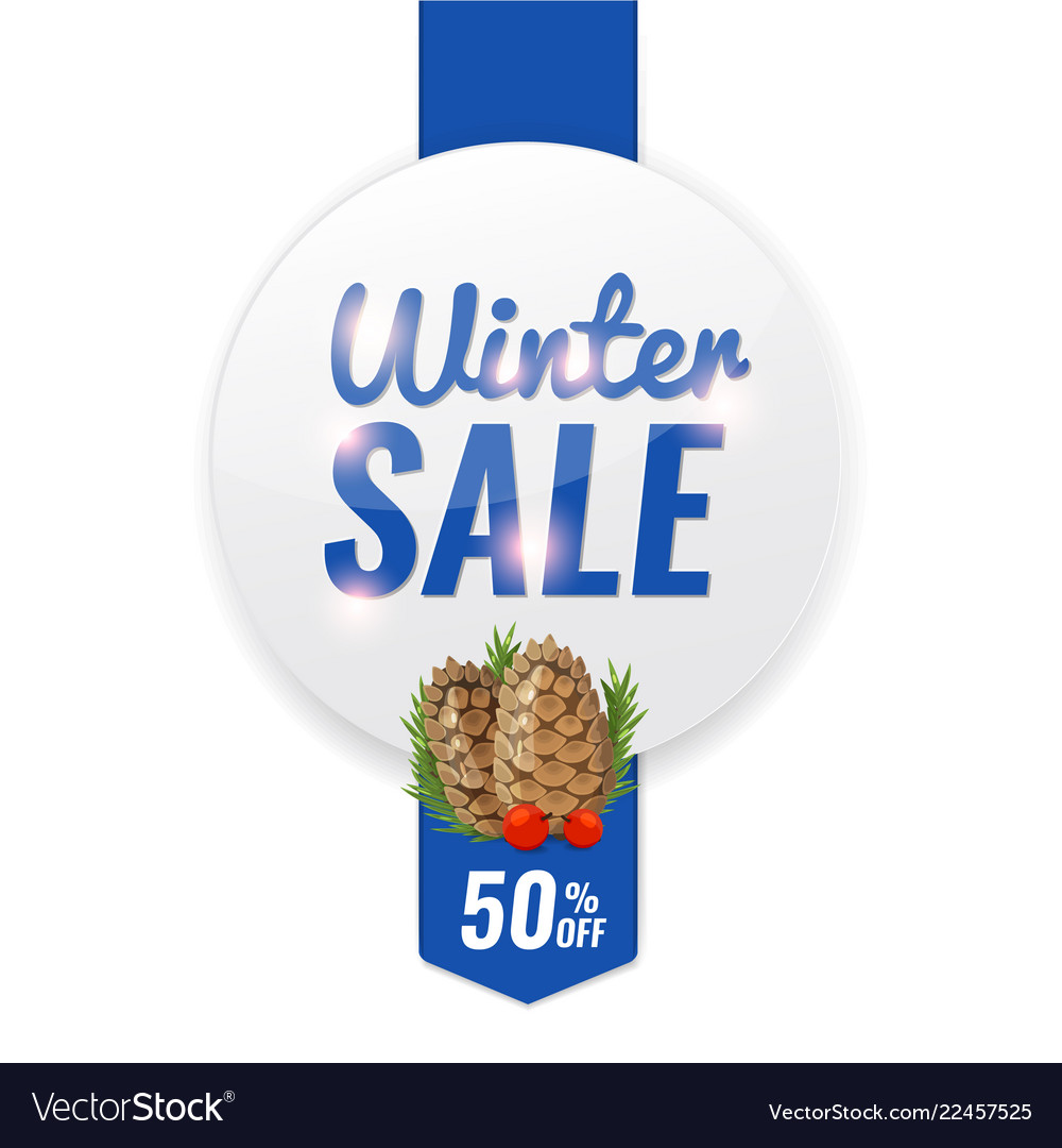 Winter discount banner with pine cone and fir