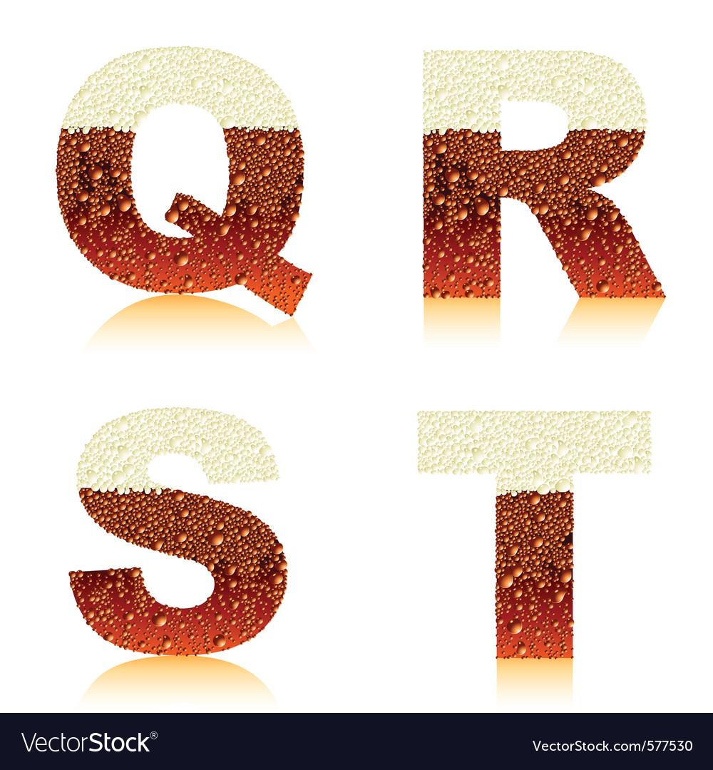 Alphabet dark beer qrst vector image
