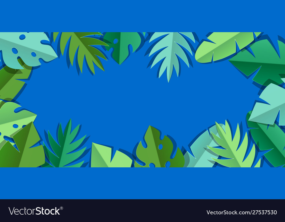 Background with paper palm leaves