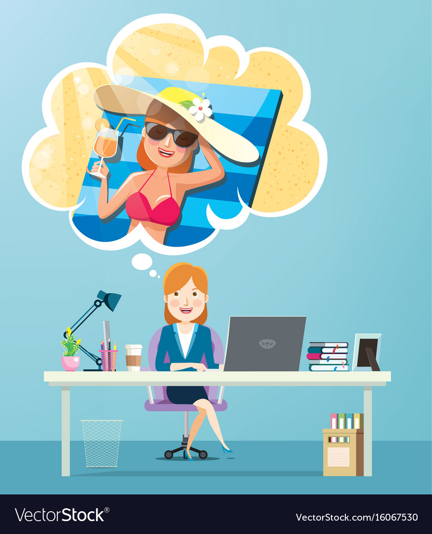 Businesswoman working and thinking about vacation