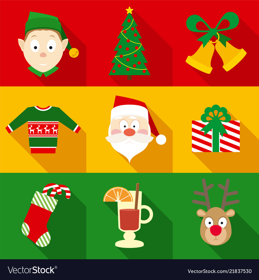 Christmas symbols set in flat style
