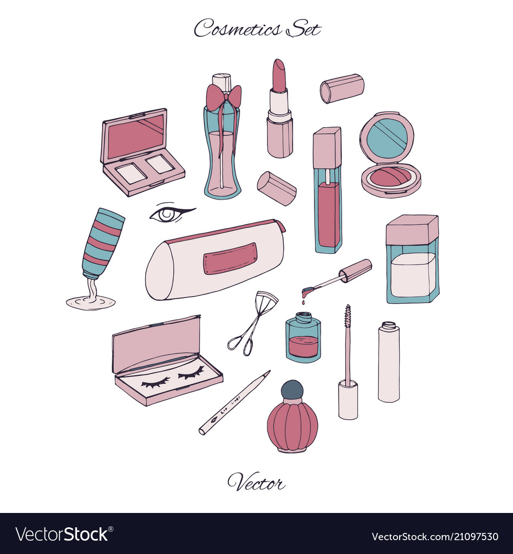 Cosmetics set with bottles lacquer lipstick cream