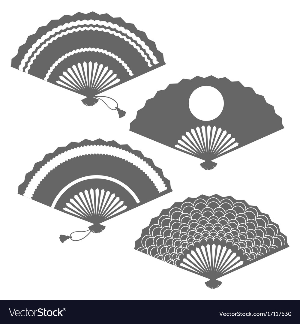 Grey fans silhouettes on white backdrop vector image