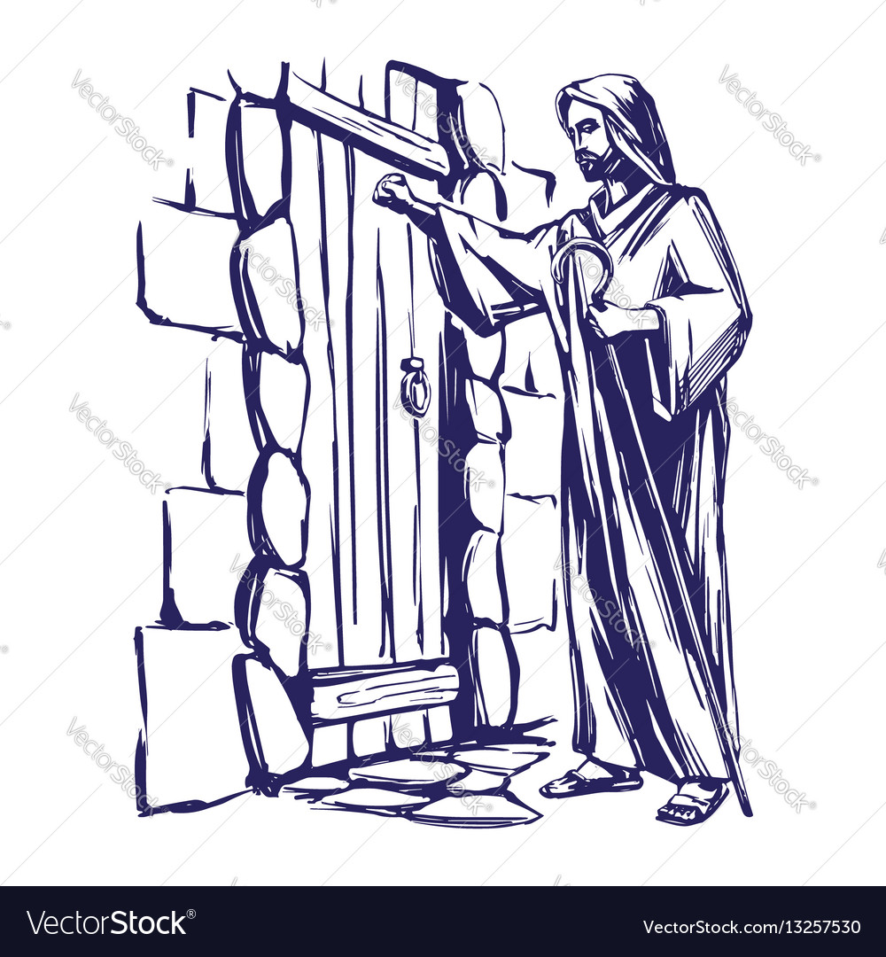 Jesus christ son of god knocking at the door vector image altavistaventures