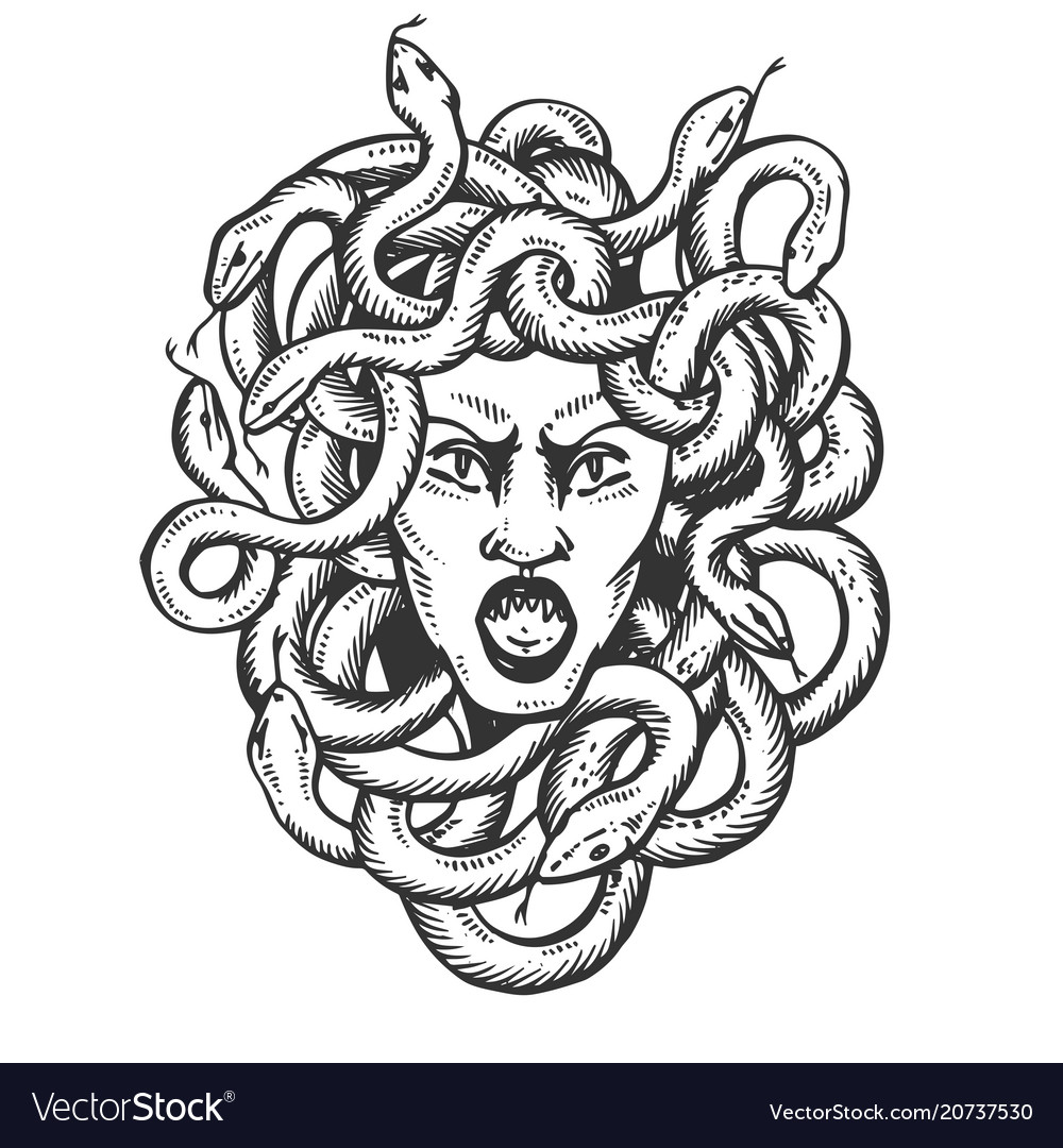 Medusa Greek Myth Creature Engraving