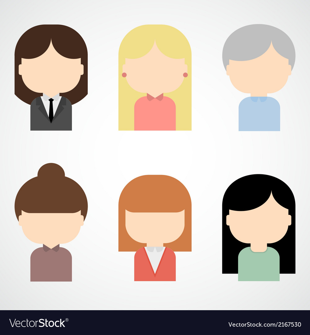 Set of colorful female faces icons