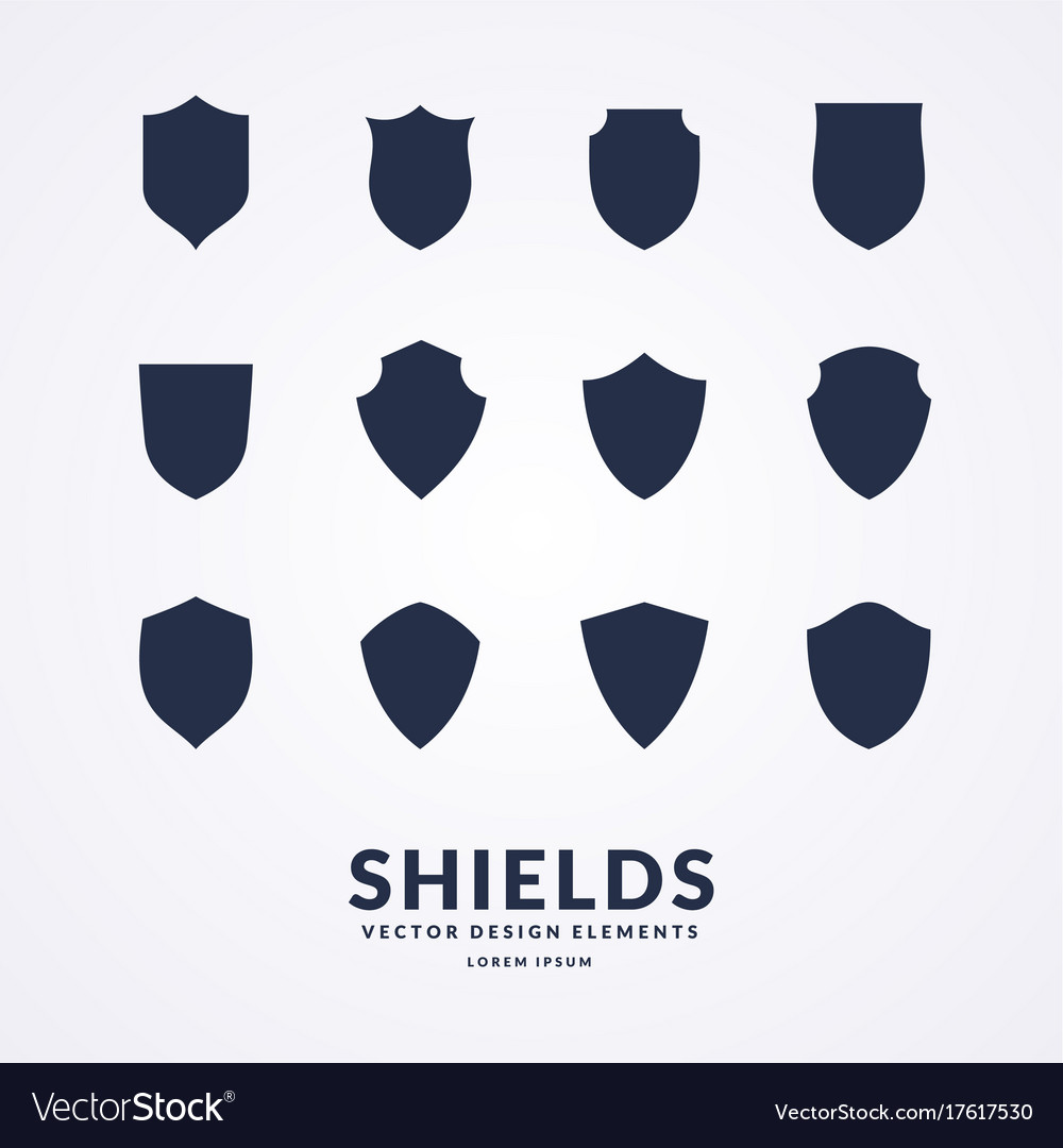 Set of different shields templates for design of