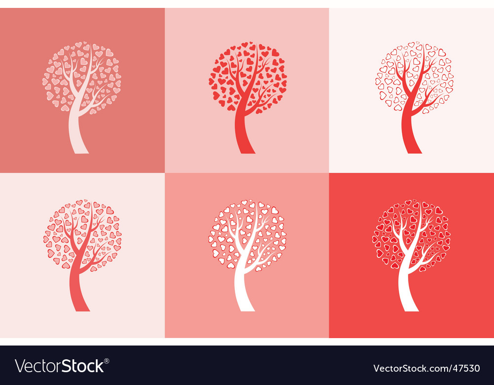Set of six love trees vector image
