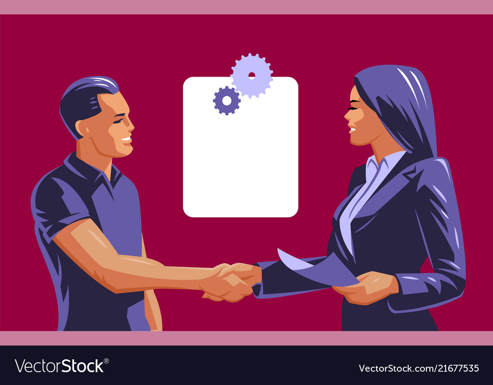 A man and a woman do a handshake