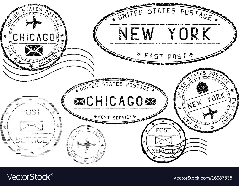 Black mail stamps of new york and chicago