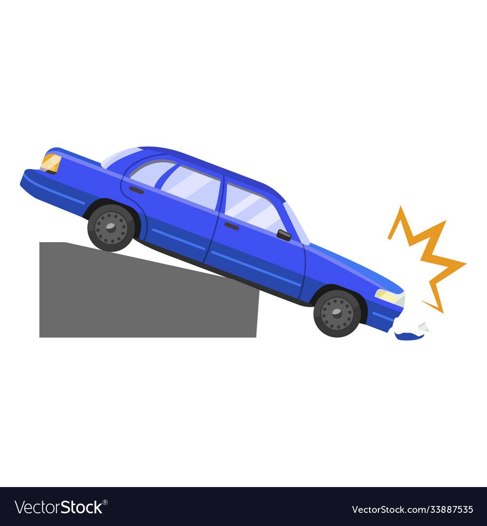 Car accident damage and automobile dangerous crash