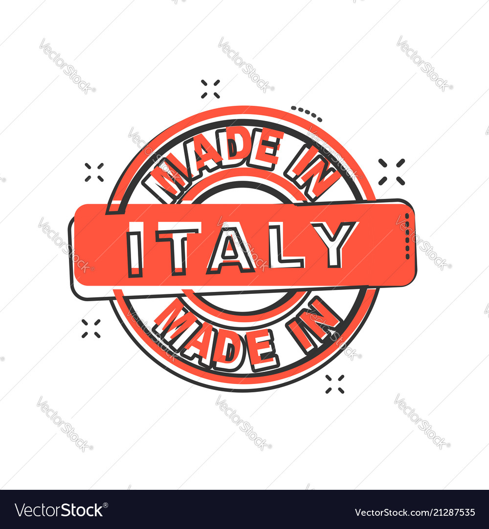 Cartoon made in italy icon in comic style italy