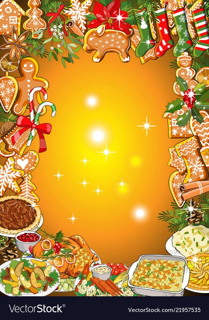 Christmas dinner invitation or greeting card