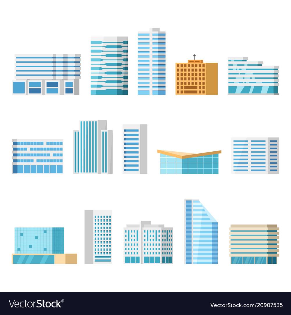 City buildings isolated cartoon set