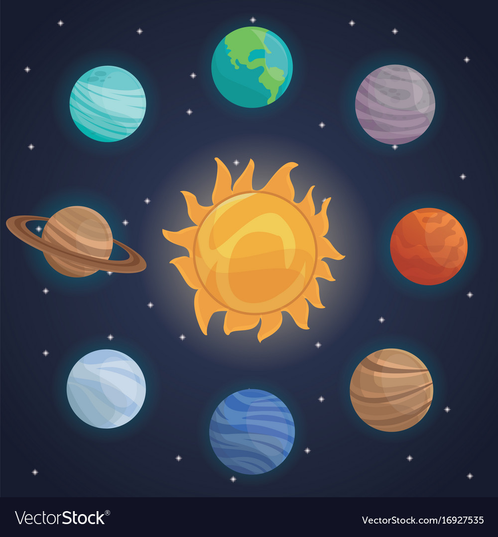 Color Space Landscape Background With Solar System Vector Image