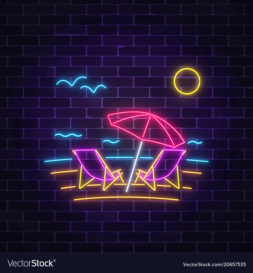 Glowing neon summer sign with chaise lounges