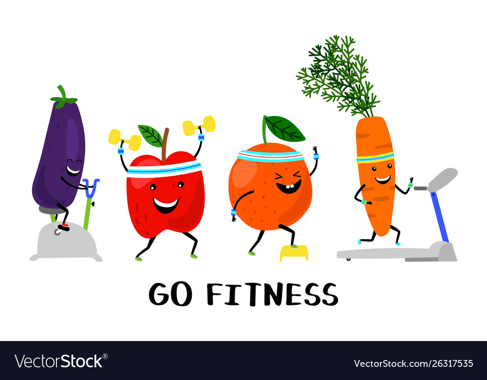 Go fitness concept happy sport fruit and