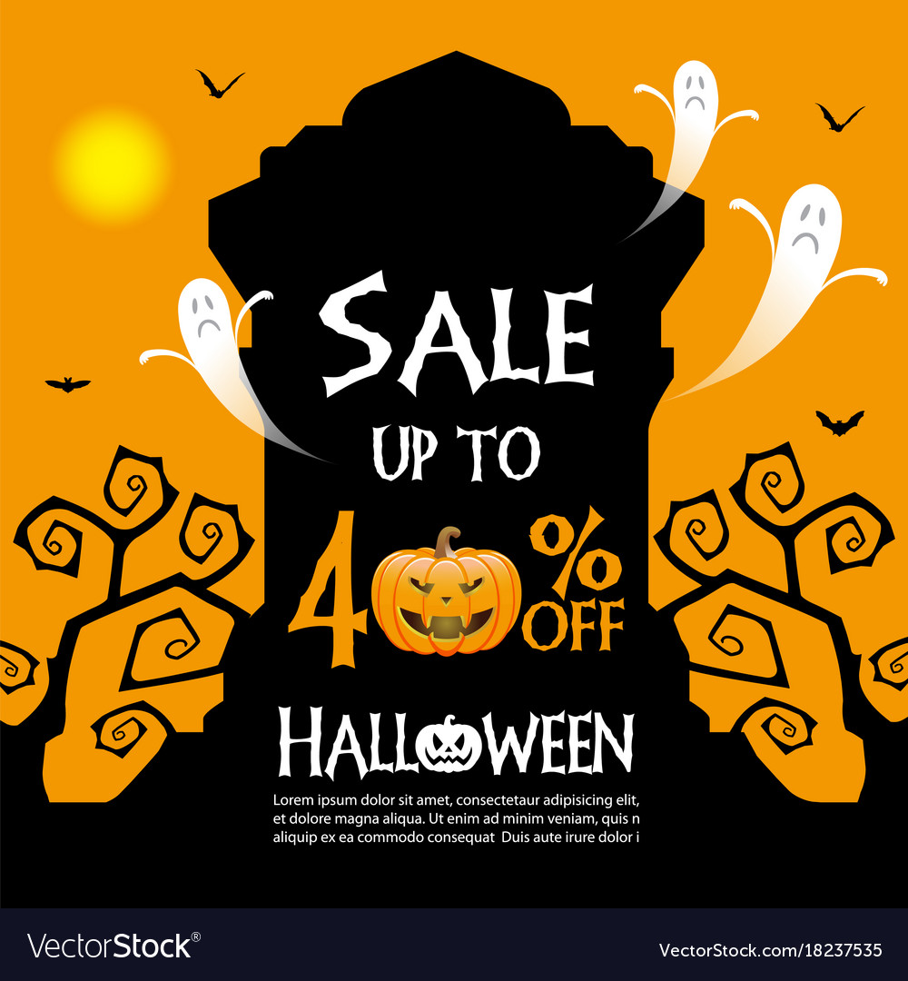 Attractive Halloween Sale Banner Template Vector Image