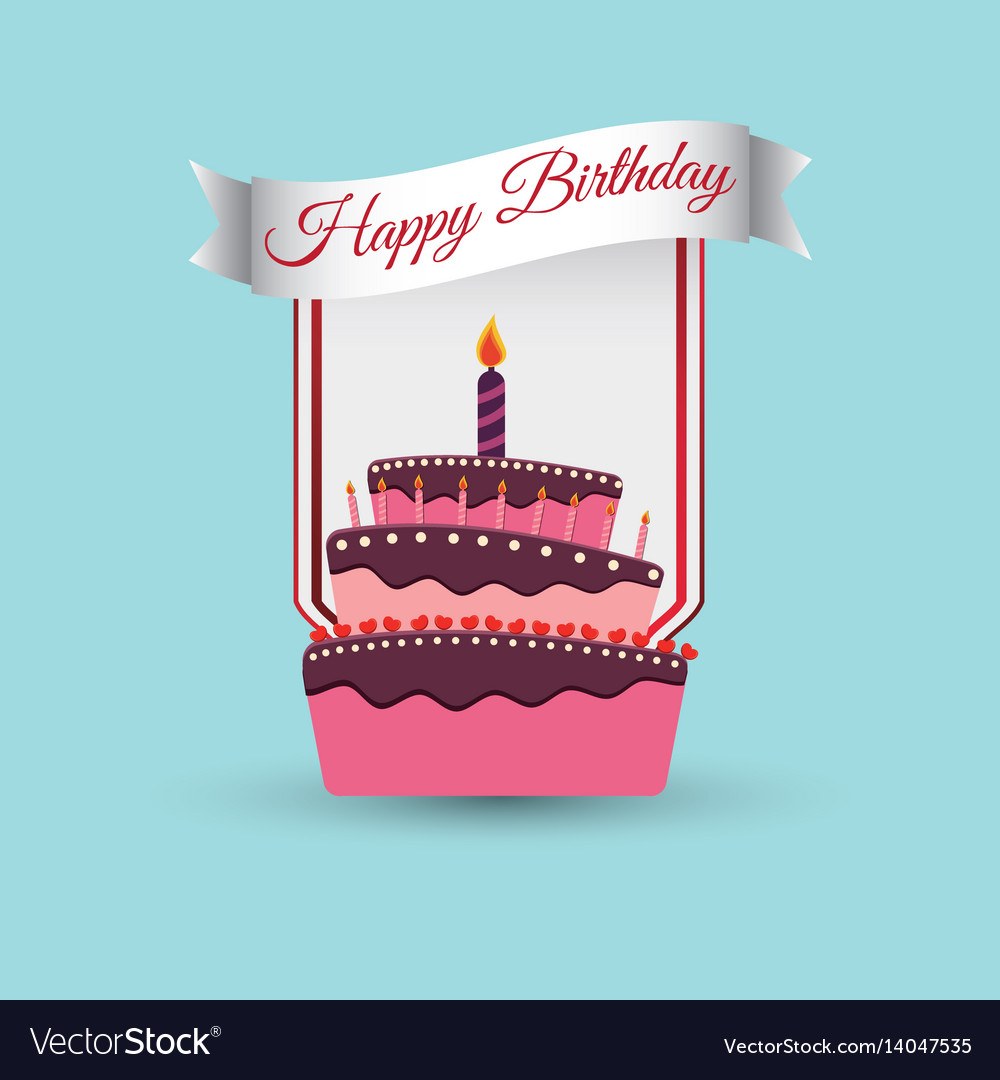 Happy Birthday Cake Decoration Poster Royalty Free Vector