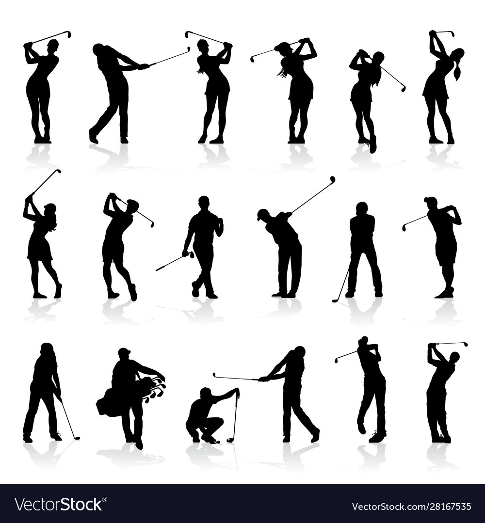 Male and female golf silhouettes set