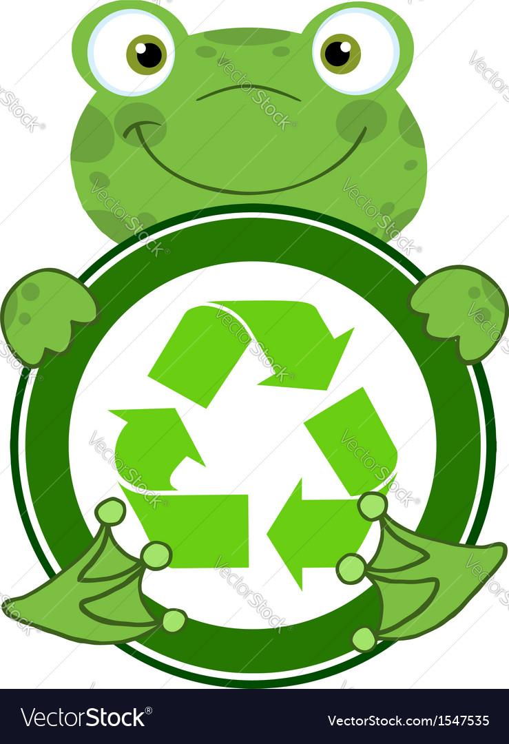 recycle eco logo frog royalty free vector image rh vectorstock com Recycle Bin Clip Art Frog Prints