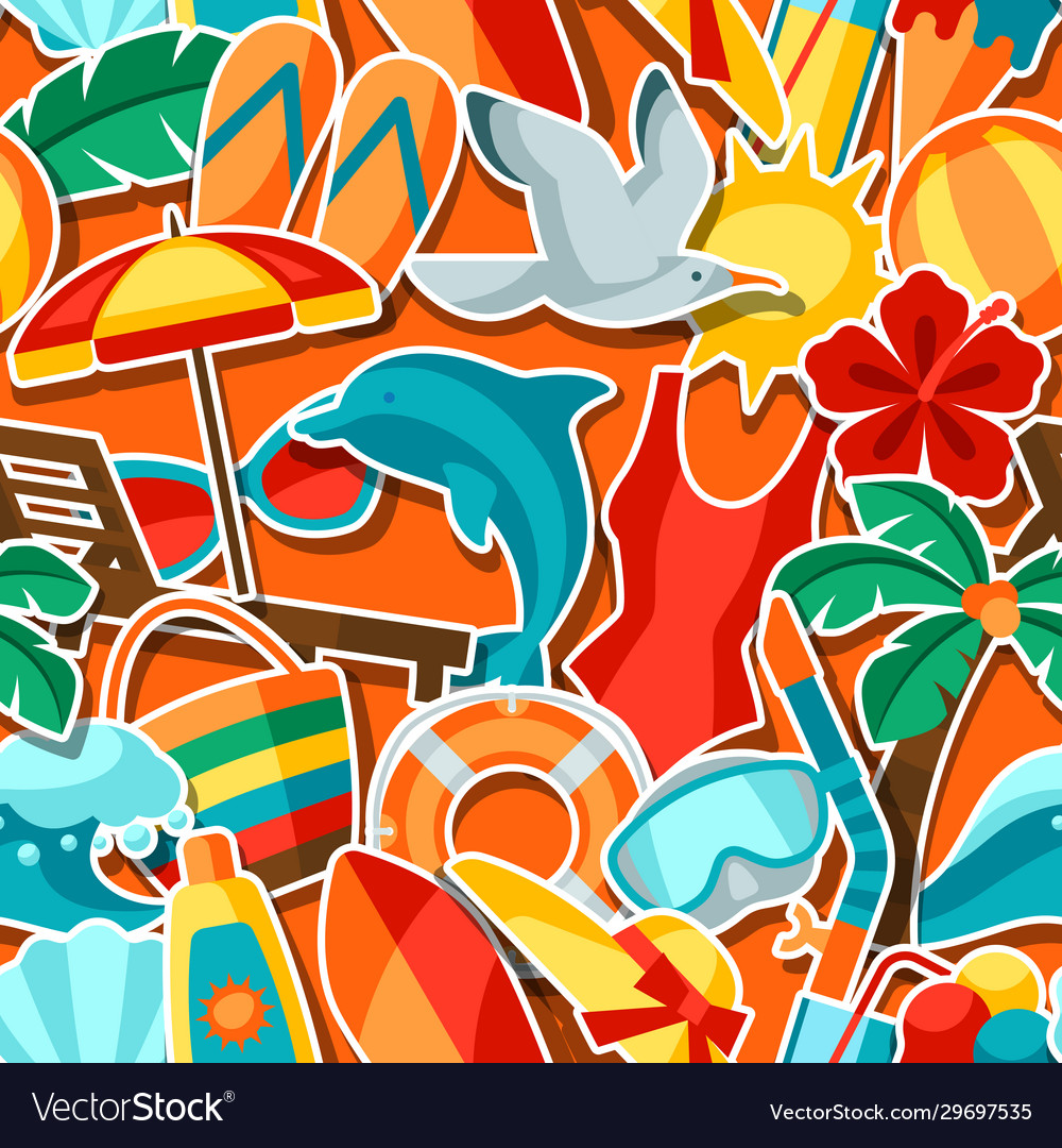 Seamless pattern with summer and beach objects