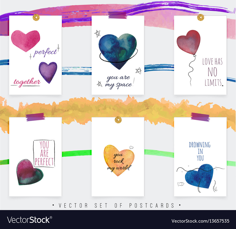 Set of creative postcards vector image