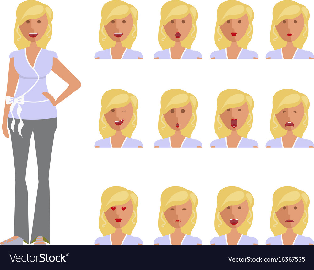 Set of woman expression