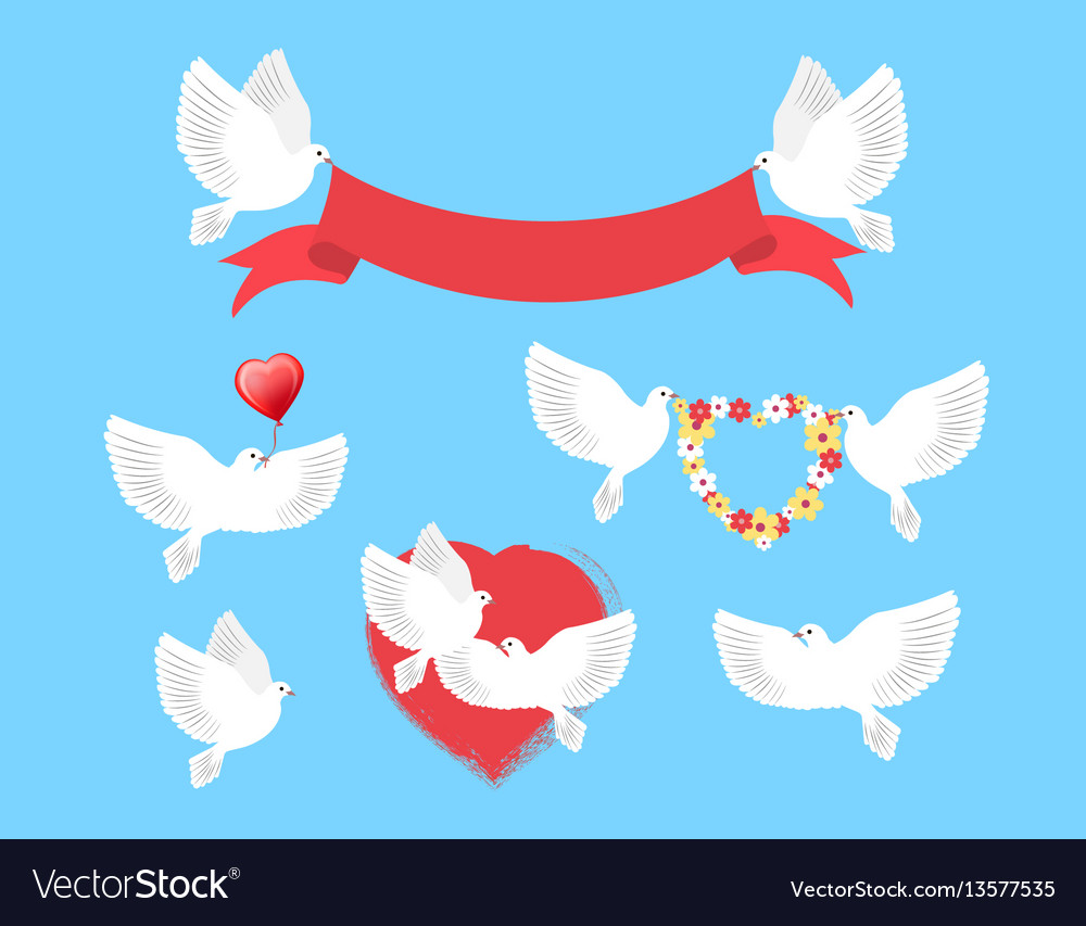 White pigeons holding red ribbon flower wreath