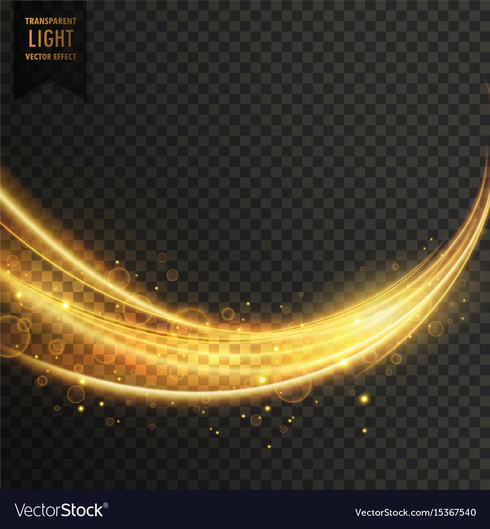Abstract golden transparent light wavy streak