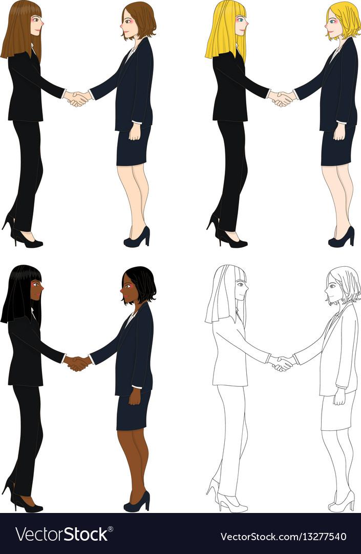 Business two women hand shake vector image