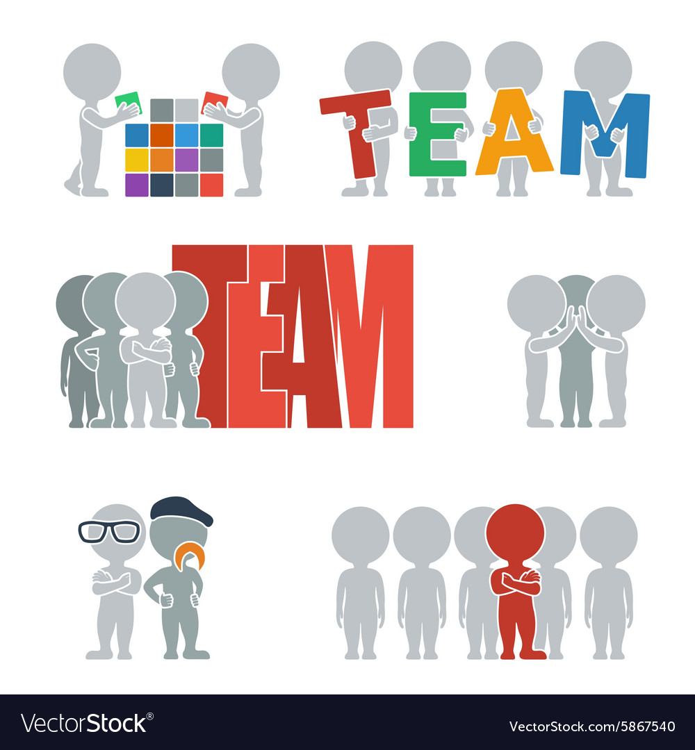 Flat people team vector image