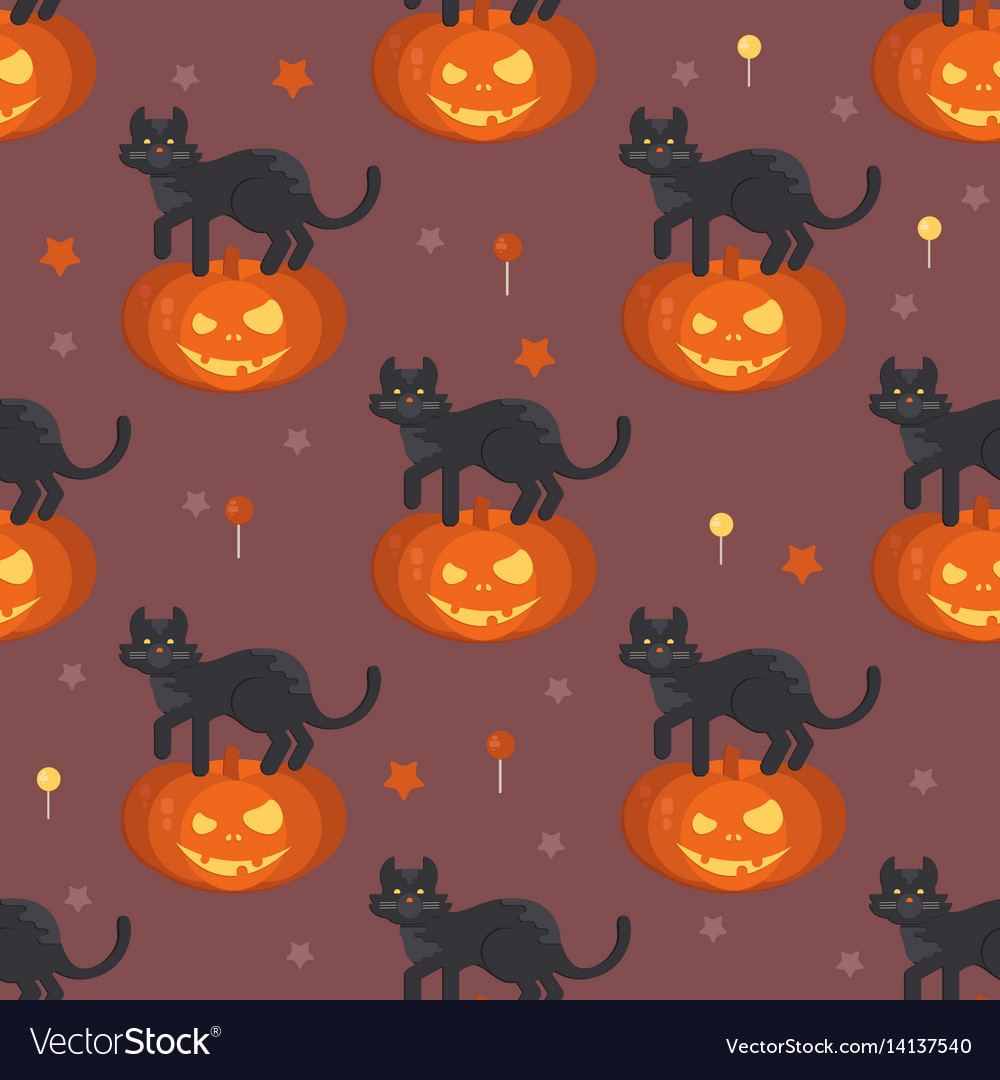 Halloween pumpkin head with black cat pat pattern vector image