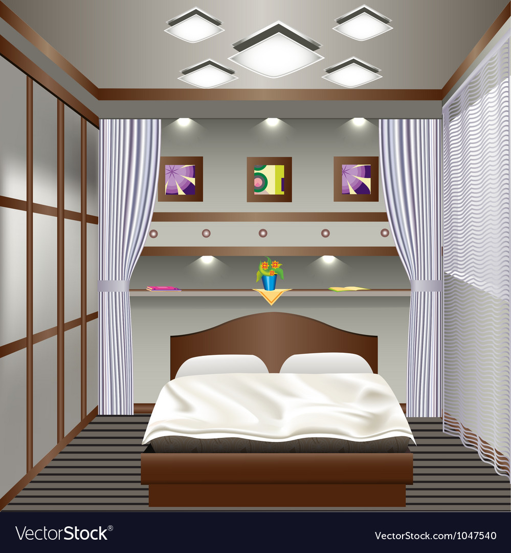 Interior bedroom with a window with curtains