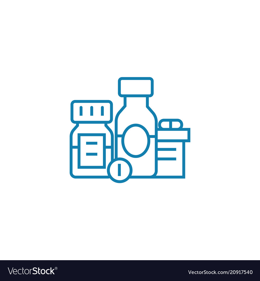 Medications linear icon concept medications line