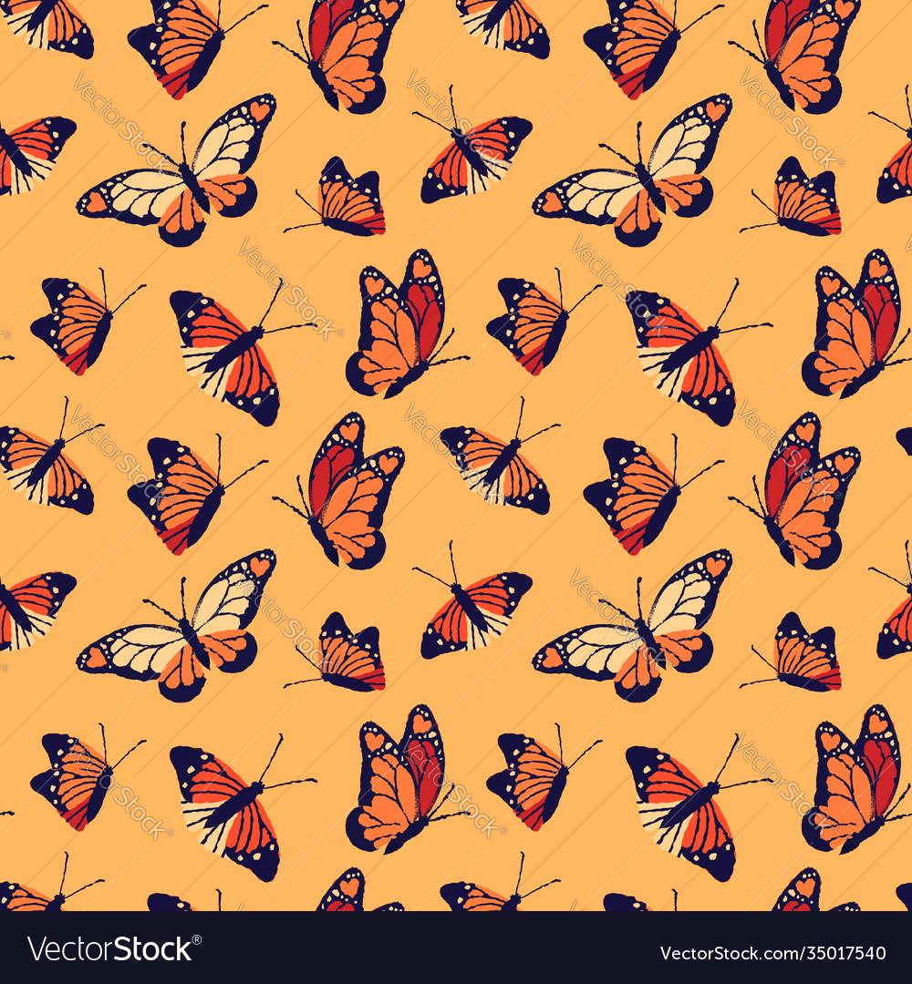 Monarch butterfly seamless pattern background