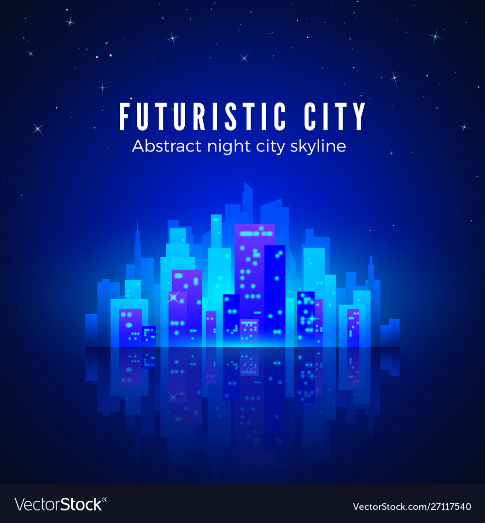 Neon city landscape with glow and bright colors